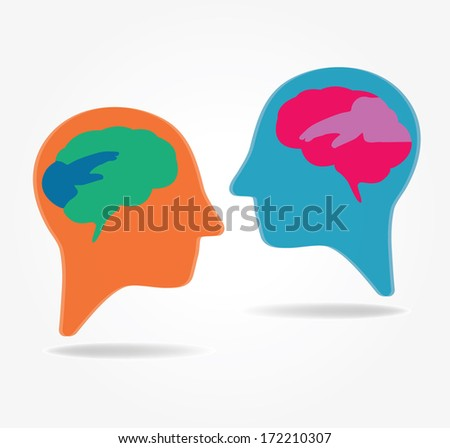 Brain. Sharing. Opinion. Vector - stock vector