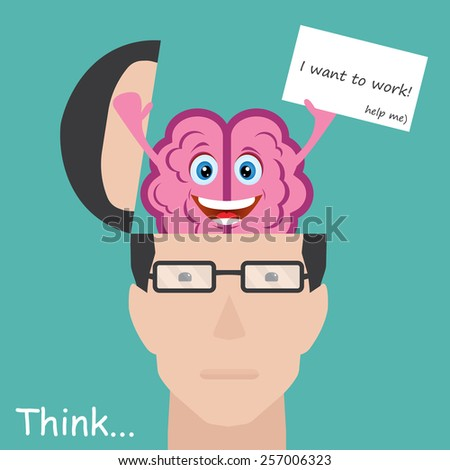 Brain showing paper with message I want to work. Concept employee - stock vector