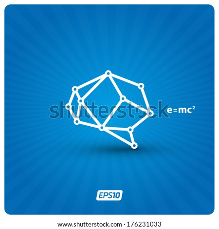 Brain sign on background - stock vector
