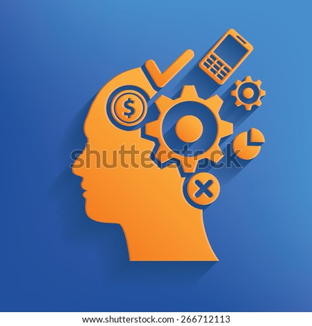 Brain storm design on blue background,clean vector - stock vector