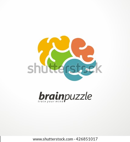 Brain symbol made from puzzle pieces. Vector logo design template. Mind games creative icon layout. - stock vector