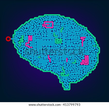 Brain symbol with a maze and labyrinth. - stock vector