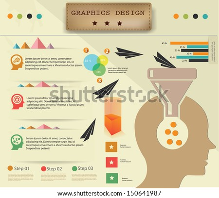 Brain thinking and technology,Infographic design,vector - stock vector