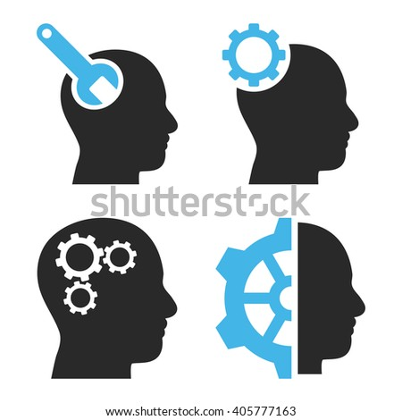 Brain Tools vector icons. Style is bicolor blue and gray flat symbols on a white background. - stock vector