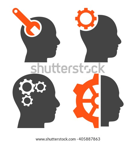 Brain Tools vector icons. Style is bicolor orange and gray flat symbols on a white background. - stock vector