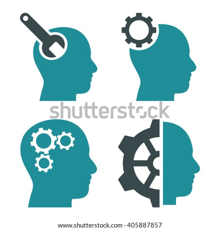 Brain Tools vector icons. Style is bicolor soft blue flat symbols on a white background. - stock vector