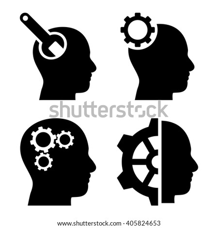 Brain Tools vector icons. Style is black flat symbols on a white background. - stock vector