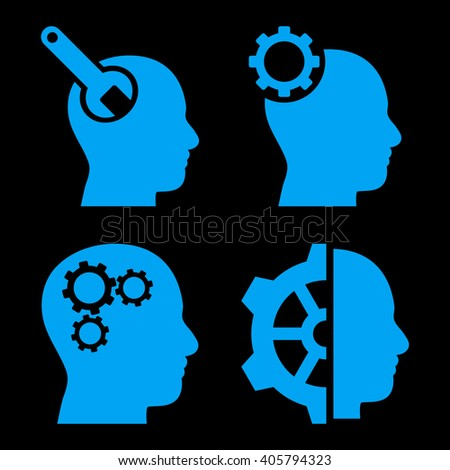 Brain Tools vector icons. Style is blue flat symbols on a black background. - stock vector