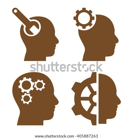 Brain Tools vector icons. Style is brown flat symbols on a white background. - stock vector
