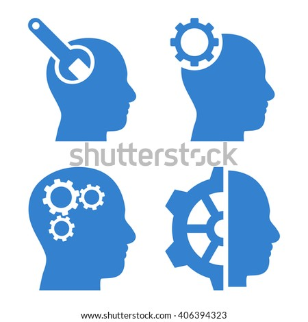 Brain Tools vector icons. Style is cobalt flat symbols on a white background. - stock vector