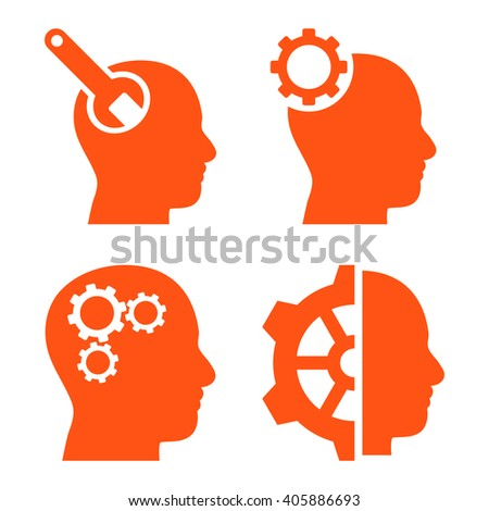 Brain Tools vector icons. Style is orange flat symbols on a white background. - stock vector