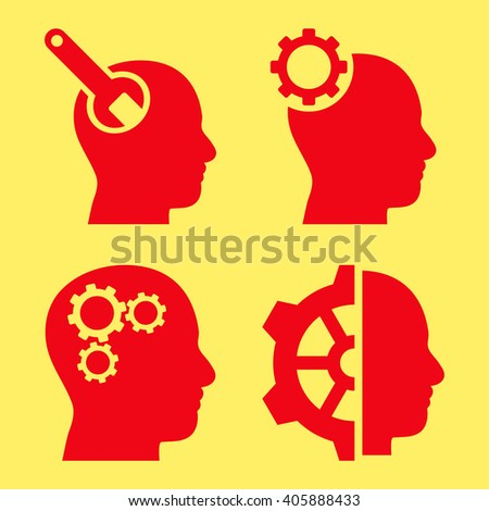 Brain Tools vector icons. Style is red flat symbols on a yellow background. - stock vector