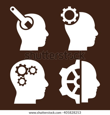 Brain Tools vector icons. Style is white flat symbols on a brown background. - stock vector