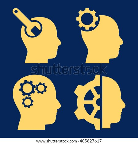 Brain Tools vector icons. Style is yellow flat symbols on a blue background. - stock vector