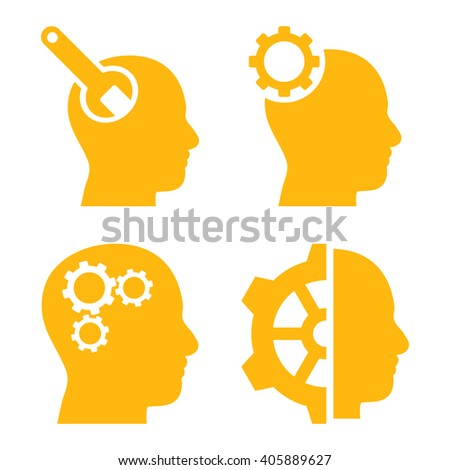 Brain Tools vector icons. Style is yellow flat symbols on a white background. - stock vector