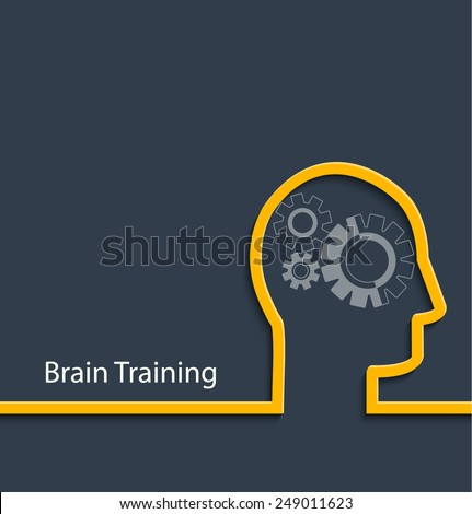 Brain training. Gear head. Vector illustration - stock vector