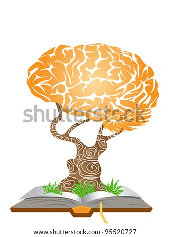 brain tree growing from the book - stock vector