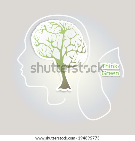 Brain tree illustration - stock vector