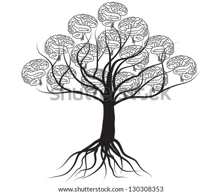 Brain tree illustration, tree of knowledge - stock vector