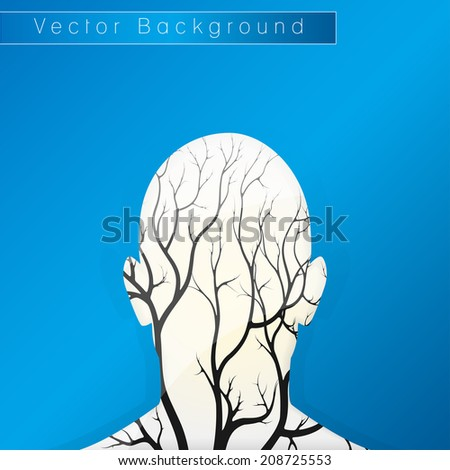 Brain tree illustration, tree of knowledge, medical, environmental or psychological concept  - stock vector