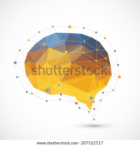 Brain triangle background  - stock vector