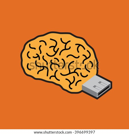 Brain USB flash. Brain flash drive. Creative illustration. - stock vector