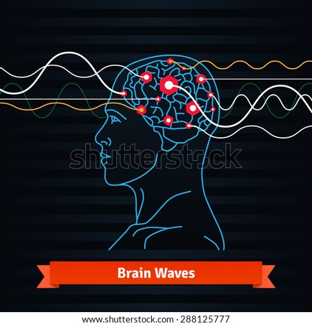 Brain waves. Electrodes connected to a man head. Mind power concept. Flat vector thin line icon. - stock vector