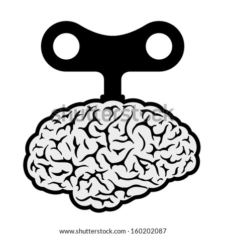 Brain with a wind-up key depicting control, automation, robotic and mechanical showing a lack of freedom and choice - stock vector