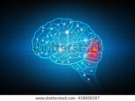 Brain with abstract technology and science of intelligence connectivity network in digital background,vector illustration - stock vector