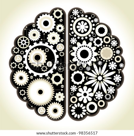 Brain with gears. the concept of logical and associative thinking man - stock vector