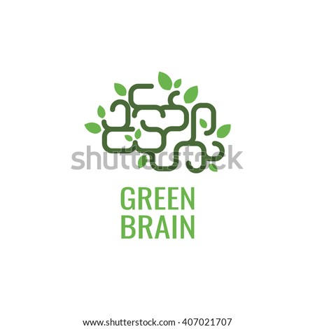 Brain with leaf logo. Science logo design template.  - stock vector