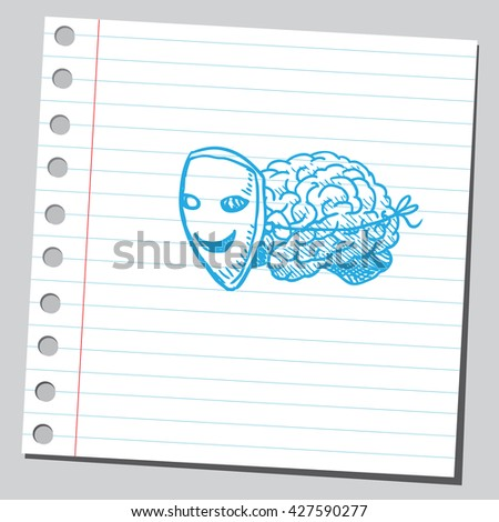Brain with mask - stock vector