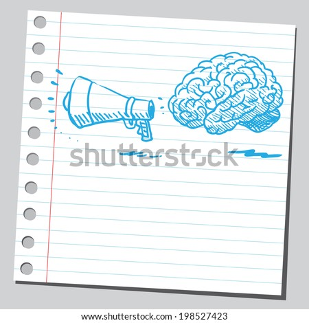 Brain with megaphone - stock vector