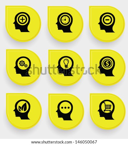 Brains icons on yellow buttons,vector - stock vector