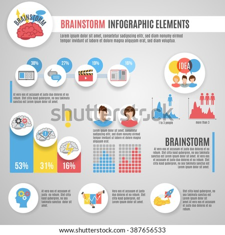 Brainstorm infographics set with innovative thinking strategy symbols and charts vector illustration - stock vector