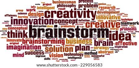Brainstorm word cloud concept. Vector illustration - stock vector