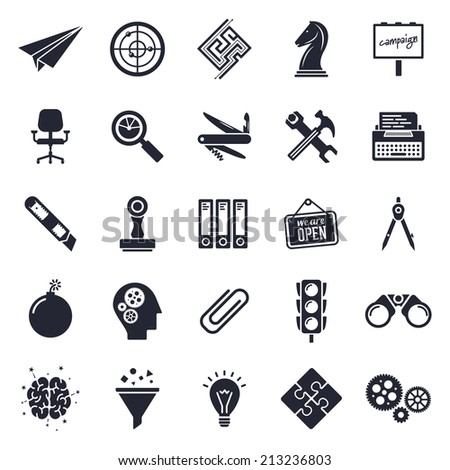 Brainstorming and improvement theme, black and white icons. - stock vector
