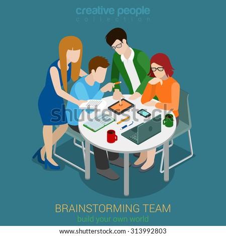 Brainstorming creative team people flat 3d web isometric infographic concept vector. Advertising agency app development process. Teamwork around table laptop chief art director designer programmer - stock vector