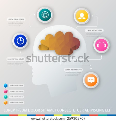 Brainstorming process concept. Human head silhouette with circle set of icons. - stock vector