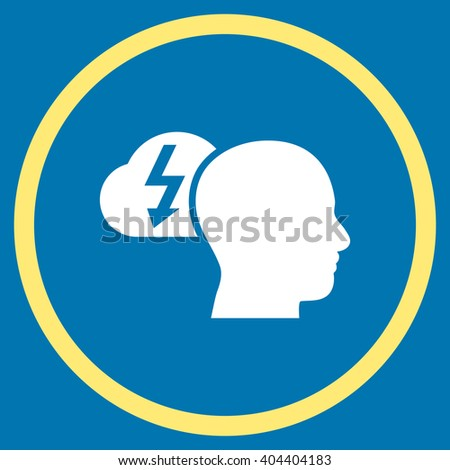 Brainstorming vector bicolor icon. Image style is a flat icon symbol inside a circle, yellow and white colors, blue background. - stock vector