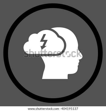 Brainstorming vector bicolor icon. Picture style is flat brainstorming rounded icon drawn with black and white colors on a gray background. - stock vector