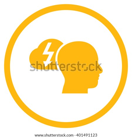 Brainstorming vector icon. Image style is a flat icon symbol inside a circle, yellow color, white background. - stock vector