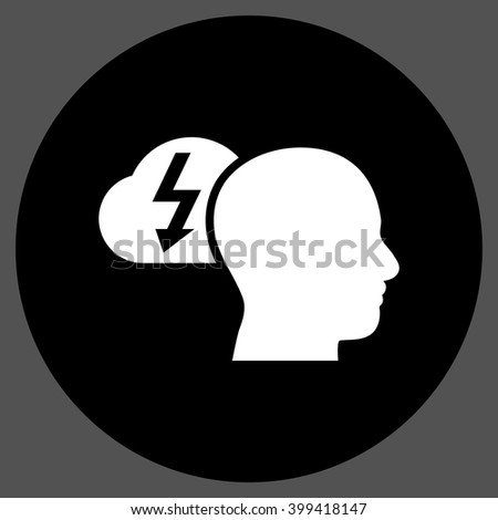 Brainstorming vector icon. Image style is a flat icon symbol on a round button, black and white colors, gray background. - stock vector