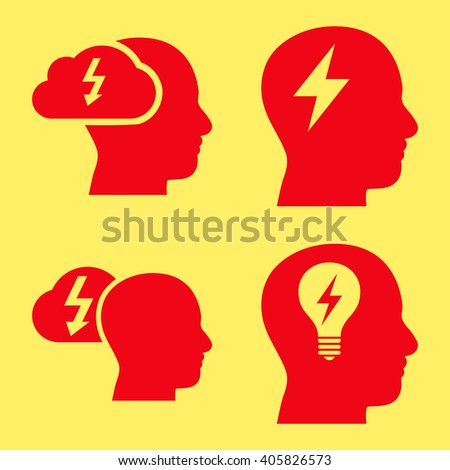 Brainstorming vector icons. Style is red flat symbols on a yellow background. - stock vector