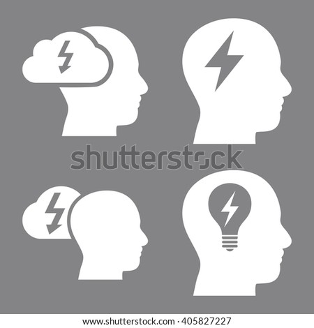 Brainstorming vector icons. Style is white flat symbols on a gray background. - stock vector