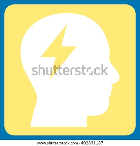 Brainstorming vector symbol. Image style is bicolor flat brainstorming pictogram symbol drawn on a rounded square with yellow and white colors. - stock vector