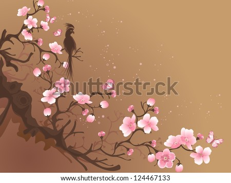 branch of sakura and bird on a brown background - stock vector