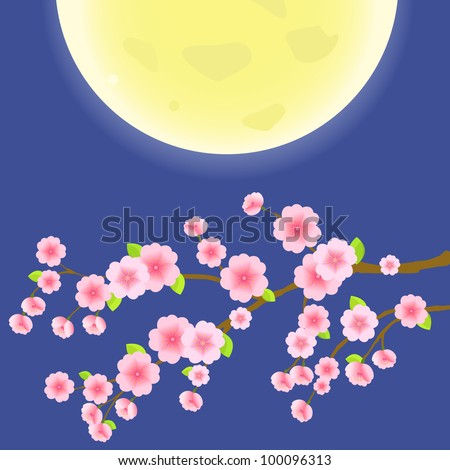 Branch of Sakura Cherry Tree on Blue Sky and Yellow Moon. Japanese Vector Illustration - stock vector