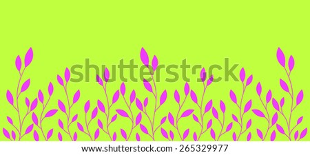 branch with leaves isolated on a green background - stock vector