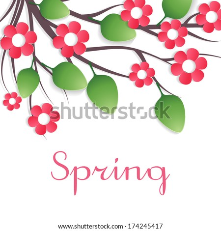 Branch with pink paper flowers and leaves on white background. Vector - stock vector